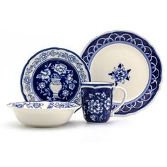 Stoneware Blue Garden Dinnerware Set Blue/White - Euro Ceramica - image 1 of 3 Blue And White China, Blue China, Blue And White Dinnerware, Blue Dinnerware Sets, Dinnerware Ideas, White Dishes, Blue Dishes, Chinese Ceramics, White Decor