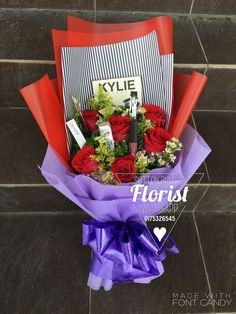 ScarletHeart Florist And Gifts, Bukit Mertajam. We are Online Florist, Flowers & Gifts Malaysia & deliver flowers &. Makeup Bouquet Gift, Gift Bouquet, Candy Bouquet, Valentines Flowers, Valentine Day Crafts, Diy Valentine's Flowers, Gifts For Makeup Lovers, Diy Gift Baskets, Chocolate Bouquet