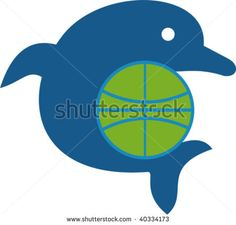 illustration of a dolphin jumping with globe isolated on white #dolphin #retro #illustration