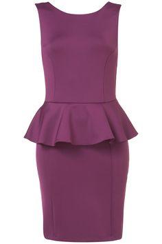 Scuba Peplum Pencil Dress in Plum at Top Shop. Love the color.