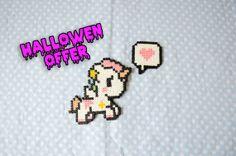 Kawaii Unicorn  Hama Beads Keychain by CreepyMermaiid on Etsy, €2.00