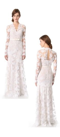 Wedding gown by Temperley London. Lovely lace and beautiful sleeves. And such a gorgeous back!