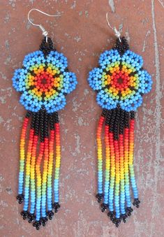 Colorfulness must try Seed Bead Jewelry, Bead Jewellery, Seed Bead Earrings, Etsy Earrings, Beaded Earrings, Beaded Flowers Patterns, Bead Loom Patterns, Beaded Jewelry Patterns, Beading Patterns