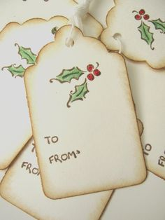 Holly Berry Christmas Gift Tags,. $5.50, via Etsy.