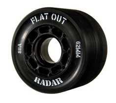 Radar Flat Out   Size: 43mm x 62mm Hub: Black Nylon Hardness: 88A  $59.95 Roller Skate Wheels, Roller Skating, Don't Give Up, Tricycle, Derby, Flat, Scooters, Determination