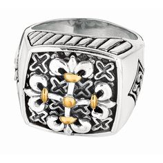 Ring 18kt Yellow Gold+Sterling Silver. Square Top
