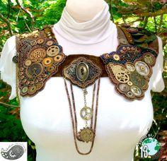 Steampunk Collar Clockwork Bead Embroidery Locked in von beadn4fun