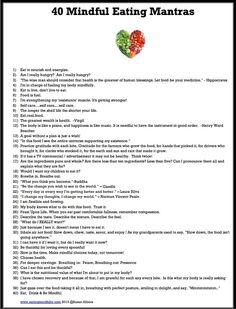 40 Mindful Eating Mantras - Eat, Drink, & Be Mindful - Susan Albers                                                                                                                                                      More