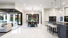 elegante-open-space-cucina-soggiorno-moderno-pavimento-marmo-mobili ...