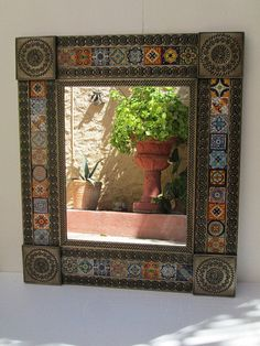 Punched Tin Round Mirror Mixed Talavera Tile Mexican Folk Art Wall ...