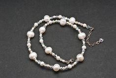 White Pearl and Crystal Clear Necklace, Elegant Sparkly Party Necklace, Bridal Necklace, Pearl