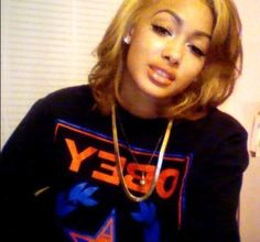 Hair, short hairstyles, honey blonde, OBEY sweatshirt, jewelry.