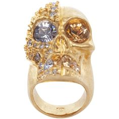 Alexander McQueen Gold Crystal Two-Faced Skull Cocktail Ring ($330) ❤ liked on Polyvore
