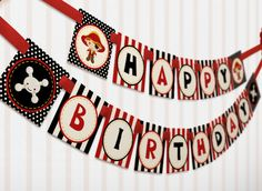 Red Pirate Birthday Party Package Personalized HUGE Collection Set - PRINTABLE DIY - PS128x. $39.00, via Etsy. #YoYoBirthday