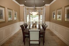 LONG dining room. Probably almost exactly how I would decorate it too....gorgeous colors and detail work.