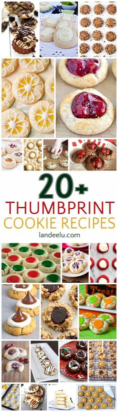 Over 20 pretty and delicious thumbprint cookies recipes to make! Perfect for Holiday gift plates and for Christmas, Thanksgiving and New Years party dessert tables too!