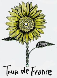 Tour De France sunflower & cog design from Cycology