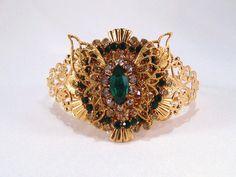 Cuff Bracelet Recycled Vintage Rhinestone by VintiqueJools on Etsy, $38.00
