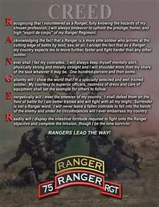 U.S. Army Ranger Creed. It's more than six paragraphs of words. It's a way of life - a code by which to live.