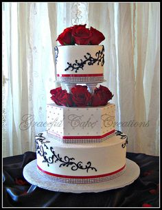 Elegant White Wedding Cake with Red, Black and Bling Accents | Flickr - Photo Sharing!