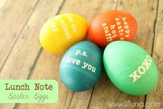 ok, this is WAY cute! put lunch box notes on their #Easter Eggs via @lilLunaKristyn
