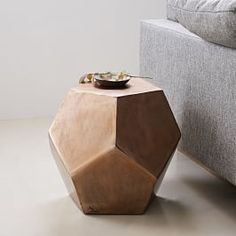 Gem Cut Side Table is part of Yellow Home Accessories West Elm Faceted like a cut gem, this side table is made of lightweight aluminum in a rich, textured metallic finish - West Elm, White Side Tables, End Tables, Coffee Tables, Yellow Home Accessories, Accessories Online, Bridal Accessories, Tree Stump Side Table, Geometric Side Table