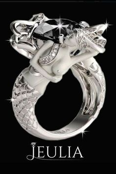 Black Diamond Rhodium Plated Sterling Silver Women's Mermaid Engagement Ring #jeulia