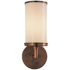 Studio Cylinder Sconce in Hand-Rubbed Antique Brass with White Glass by Visual Comfort S2006HAB-WG