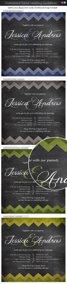 Modern, graphic invitation with lovely hand-drawn flourishes. Chalkboard background is included!  Files are high quality print rea