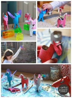 A Happy Handmade Unicorn Craft for Kids made with toilet paper rolls