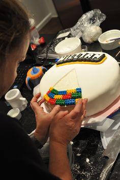 Assembling the Lego Cake
