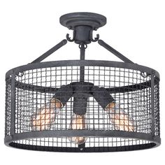 Cast a warm glow in your foyer or living room with this industrial semi-flush mount, featuring a vintage-inspired bulb and mesh wire shade. ...