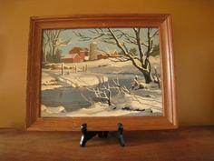 Vintage Paint By Number Winter Scene / Winter Landscape Painting Framed