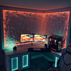 20 best gaming room setup ideas you can build. Build your own gaming setup. Best Gaming Setup, Gaming Room Setup, Pc Setup, Cool Gaming Setups, Gaming Chair, Computer Gaming Room, Computer Setup, Small Computer, Computer Coding