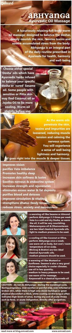 Abhyanga (oil application) according to the ancient healing science of Ayurveda, is one of the single most important practices one can incorporate into their daily routine to help maintain a healthy body. Often infused with herbs and usually warm, the oil is massaged into the entire body before bathing. This chart explains about this practise, the how, the when and the when not to.Read more at blog.omved.com