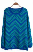 Green and Blue Contrast Zigzag Geometric Pattern Sweater $31.61