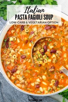Italian Pasta Fagioli Soup This Pasta Fagioli Soup is hearty and filling and full of delicious Italian flavors… With low-carb and vegetarian options! Chili Recipes, Pasta Recipes, Vegetarian Recipes, Cooking Recipes, Vegetarian Options, Vegetarian Pasta Fagioli Recipe, Hearty Vegetarian Soup, Recipes Dinner, Pasta E Fagioli Soup