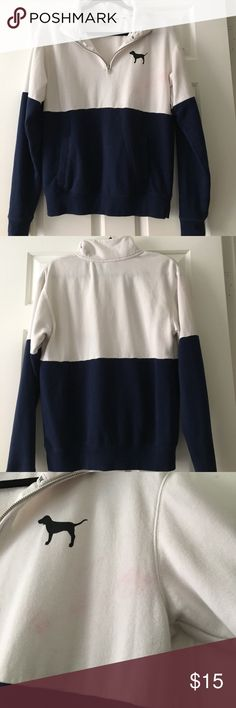PINK color block sweater Quarter zip up sweater. Flaws : Has some light pink stains. White and dark blue. Very cute, feel free to ask any questions! PINK Sweaters