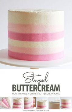 Striped Buttercream Cake - Things I should Know - Gateau Cake Decorating Designs, Creative Cake Decorating, Cake Decorating Techniques, Creative Cakes, Easy Cake Designs, Beginner Cake Decorating, Cake Decorating Classes, Decorating Ideas, Buttercream Cake Designs