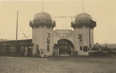 [Tijuana fair photographs], 1915  A pair of photographs depicting entrance to the Tijuana Fair complex, at the corner of 2nd and B (now Constitución). The Tijuana Fair contained shops and displays and was created to coincide with the Panama-California Exposition in Balboa Park, San Diego.