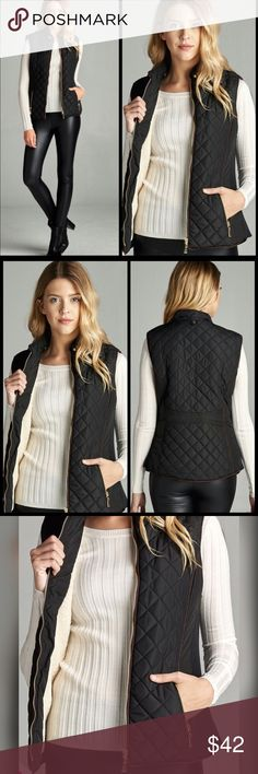 Quilted Vest-PLUS SIZE Faux Shearling Lined Quilted Padding Vest. 100% Polyester. Black or Navy. Jackets & Coats Vests