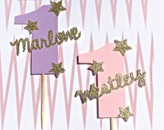 First Birthday Twinkle Twinkle Little Star Personalized Name Cupcake Topper in Pink or Purple with Gold Accent Stars -- Sold by the dozen by ForTheLoveOfRosie on Etsy