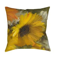 Thumbprintz Sunflowers Square II Decorative Throw Pillow