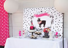 Puppy Birthday Party Dessert Table - love all the pink accents! #kidsparty