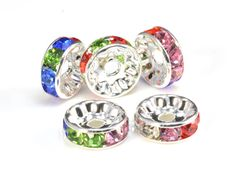 rhinestone copper spacer bead, silver plated, mix color rhinestone, 6-12mm, crystal bead, craft supplies, jewelry making--100pcs