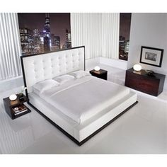 Tall Leather Headboard Ludlow White Platform Bed