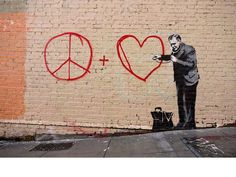 Banksy, Doctor checking on peace and Love.