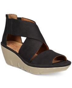 Clarks Artisan Womens Clarene Glamour Wedge Sandals  Black