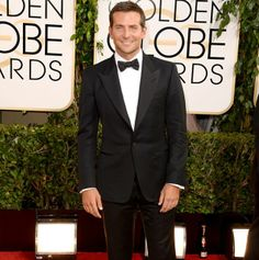 Bradley Cooper's looking dapper in a classic black tuxedo and bow tie at the Golden Globes!