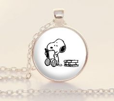 Snoopy Books Reading Reader Bookish Book Lover Librarian Teacher Writer ----------------------  This 1-inch silver charm includes a matching link